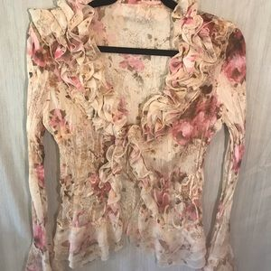 "Floral Button Front Top Size: M ""NWOT"""